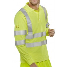 Fire Retardant Anti-Static Hi-Vis Long Sleeved Polo