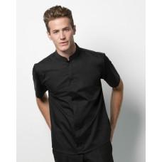 Men's Short Sleeved Mandarin Collar Bar Shirt